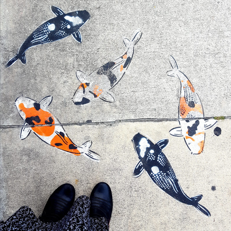 Street art - Goldfish painted on the sidewalk